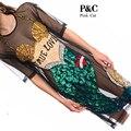 2017 New Plus Size Dress Sparkly Sequin Mesh Dress Paillette Mermaid Gauze Long Shirt Dress Mermaid Sequin FishNet Dress