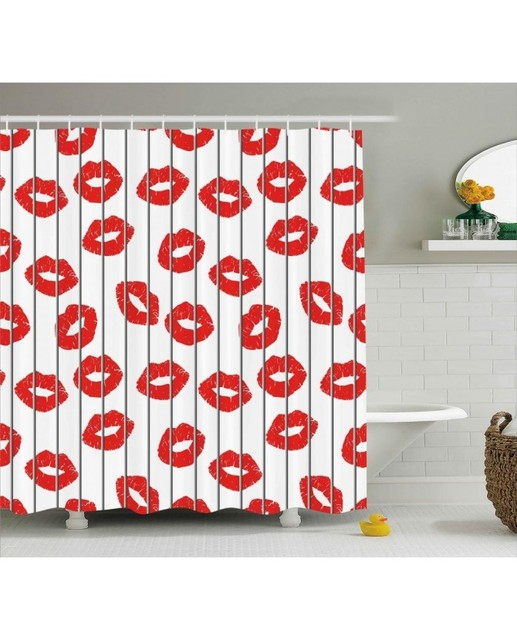 Glamour Shower Curtain Trendy Sexy Woman Lips Print For Bathroom Waterproof And Fabric Romantic