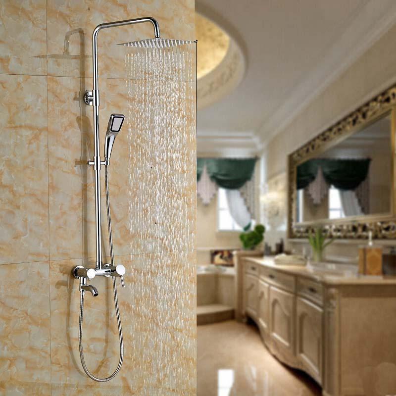 Rain Shower Faucet Set Mixer Tap Chrome Brass with 12'' Square Shower Head poiqihy chrome rain