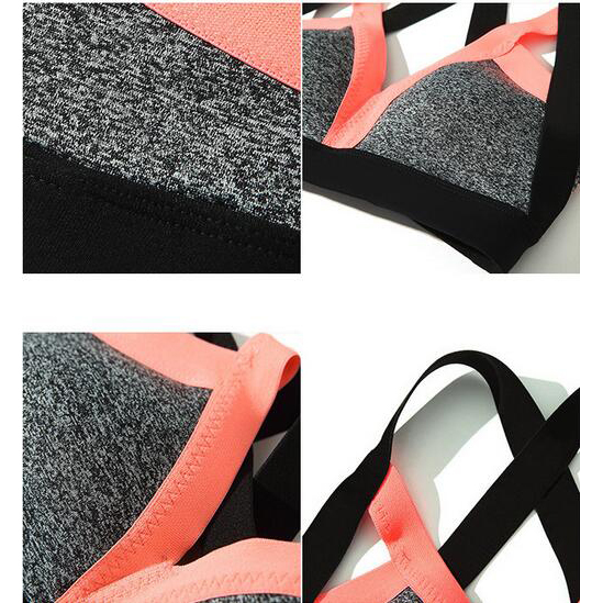 Plus Size Patchwork Cross Backless Strappy Sports Bra