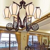 Китайский ветер 6/8 heads подвесной светильник Гостиная виллы антикварной железной классическая ретро украшения освещения подвесные светильн