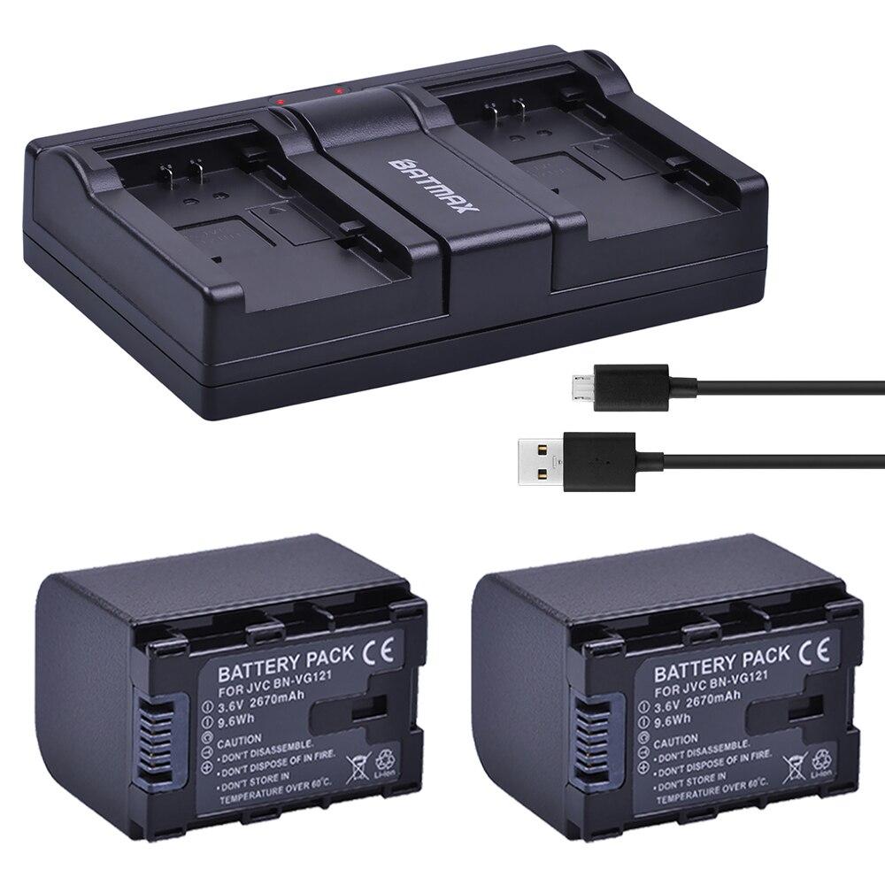 2 unids 2670 mAh BN-VG138 BN VG138 BN VG121 VG114 VG107 Cámara baterías + cargador Dual USB para JVC GZ E10 E100 E245 E265 E565 EX210