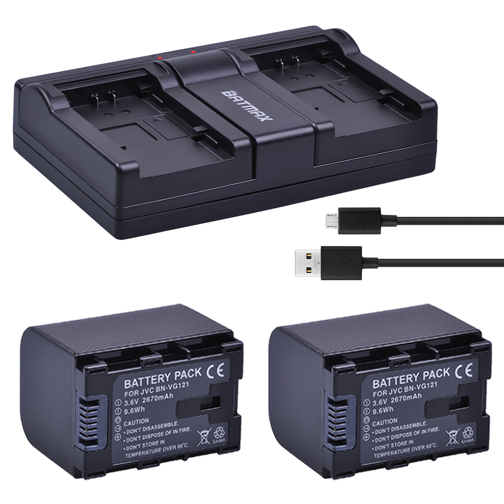 2Pcs 2670mAh BN-VG138 BN VG138 BN VG121 VG114 VG107 Camera Batteries + USB Dual Charger for JVC GZ E10 E100 E245 E265 E565 EX210 видеокамера jvc everio gz r315