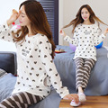 large size autumn  winter women's home service post natal breast feeding pajamas Maternity Nursing Pajamas Suits Cute Cartoon