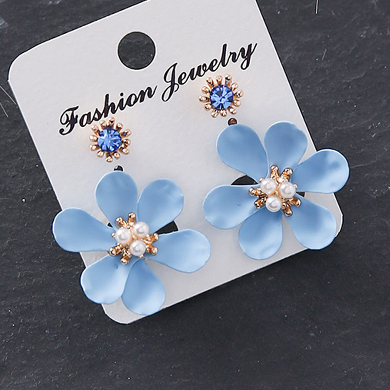Detail Feedback Questions about Korean 2018 Sweet Simulated Pearl Flower  Petal Drop Earrings After Hanging Earring for Women Fashion Wedding Bridal  Jewelry ... d04c963ed40e