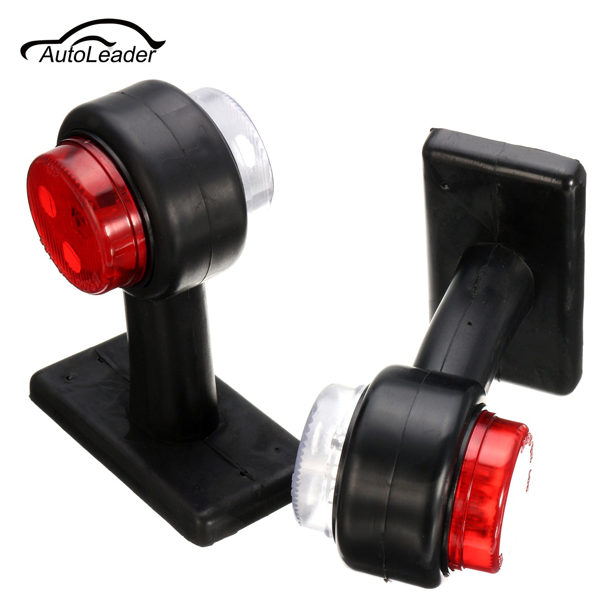 A Pair Truck Trailer Caravan 12V/24V LED Double Side Marker Clearance Light Warning Lamp Red& White cyan soil bay truck trailer side fender marker clearance light chrome bezel 3 led dc 10 30v red