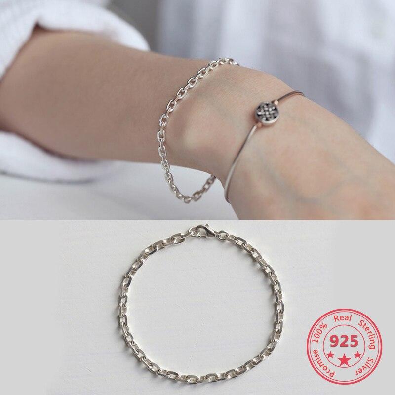 Korea New Style 925 Sterling Silver Bracelet For Women Simple Fashion Chic Cross Chain Bracelet Jewelry