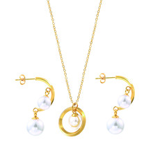 Sankie Pearl Sets For Women Wedding Necklaces Pendant Pearl Drop Earrings Wholesale Fashion Necklace Earring Jewelry Sets(China)