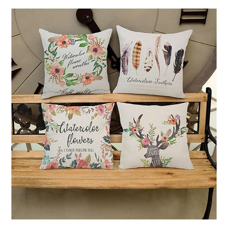 Square floral deer print sofa throw pillow cover case home decor cotton linen nordic masterpiece cushion cover