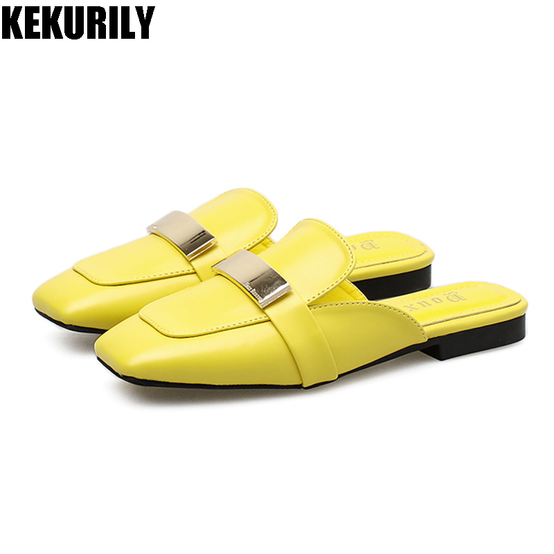 Shoes Woman Metal Bling Slides Square toe Mule Ladies Flats Slippers Slip on Sandals sapato feminino loafers Black White yellow