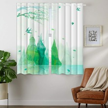 Darkening Blackout Curtains 2 Panels Grommet for Bedroom Green Watercolor Creative Painting Mountain Bird Spring