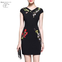 ElaCentelha Women Dress Elegant Flower Embroidery Sleeveless Bodycon Pencil Dresses Woman Office Pencil Work Formal Dress