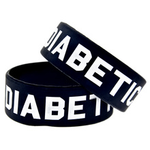 1PC Black One Inch Wide Diabetic Silicone Wristband Adult Size