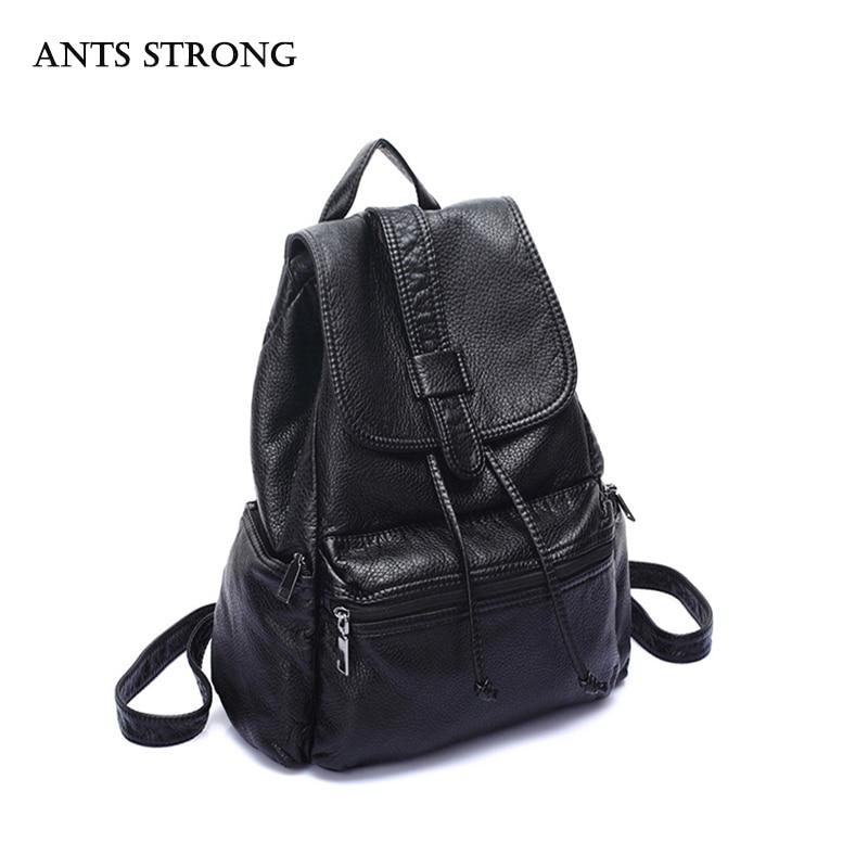 ANTS STRONG Fashion female student backpack Korean casual bag large capacity black travel bag