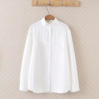 Large Size Women Spring New Small Fresh Slim Thin Cute Lace Collar Long Sleeved Shirt Plus
