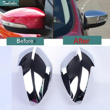 Tonlinker 2 PCS DIY Car Styling NEW ABS The Door Reverse Outside Mirrors Bright Frame Cover Case Stickers for FORD KUGA Parts