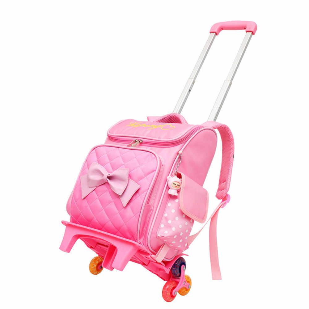 Kids meisjes Trolley Schooltas Bagage Boek Tas Rugzak Nieuwste Verwijderbare Kinderen Schooltassen Met 2/6 Wielen
