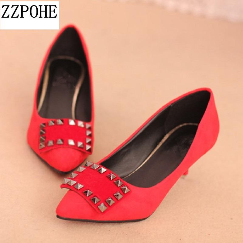 ZZPOHE Весна новое прибытие женщины на каблуках туфли на каблуке тонкие каблуки острым носом Дамы одиночные туфли с мелким ртом сексуальные женские туфли