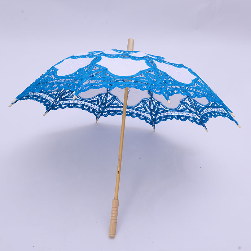 QUNYINGXIU Blue Lace Handmade Craft Umbrella Cotton Hollow Lace Photography Props Japan South Korea Dance Embroidery Umbrella