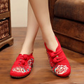 Размер 34-41 Ботинки Женщина Старый Пекин Мэри Джейн Квартиры Повседневная Китайский Стиль пион Цветок Вышитые Ткани Холст обувь