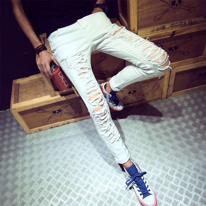 Fashion Style Personality Hole Black White Jeans Skinny Vintage Ripped Hollow Out Casual Joggers Pants For Youth And Men