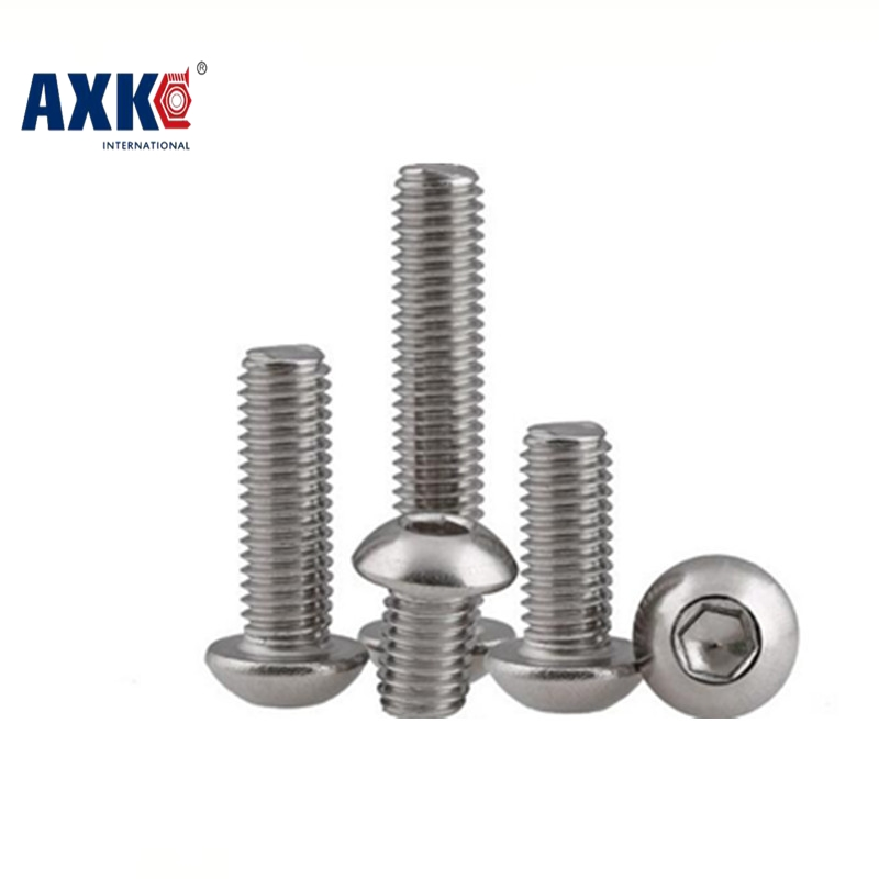 AXK M5 Bolt A2-70 Button Head Socket Screw Bolt SUS304 Stainless Steel M5*(8/10/12/14/16/18/20/25/30/25/30/35/40/45/50~100) mm 50pcs iso7380 m3 5 6 8 10 12 14 16 18 20 25 3mm stainless steel hexagon socket button head screw
