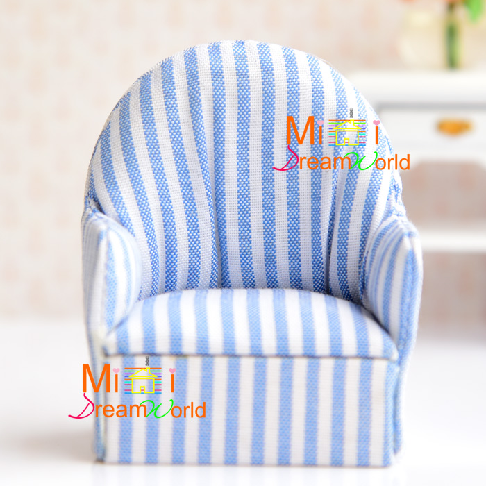 Stupendous Us 6 4 Mini Dollhouse Mini Furniture Accessories Blue And White Striped Sofa In Doll Houses From Toys Hobbies On Aliexpress Com Alibaba Group Creativecarmelina Interior Chair Design Creativecarmelinacom