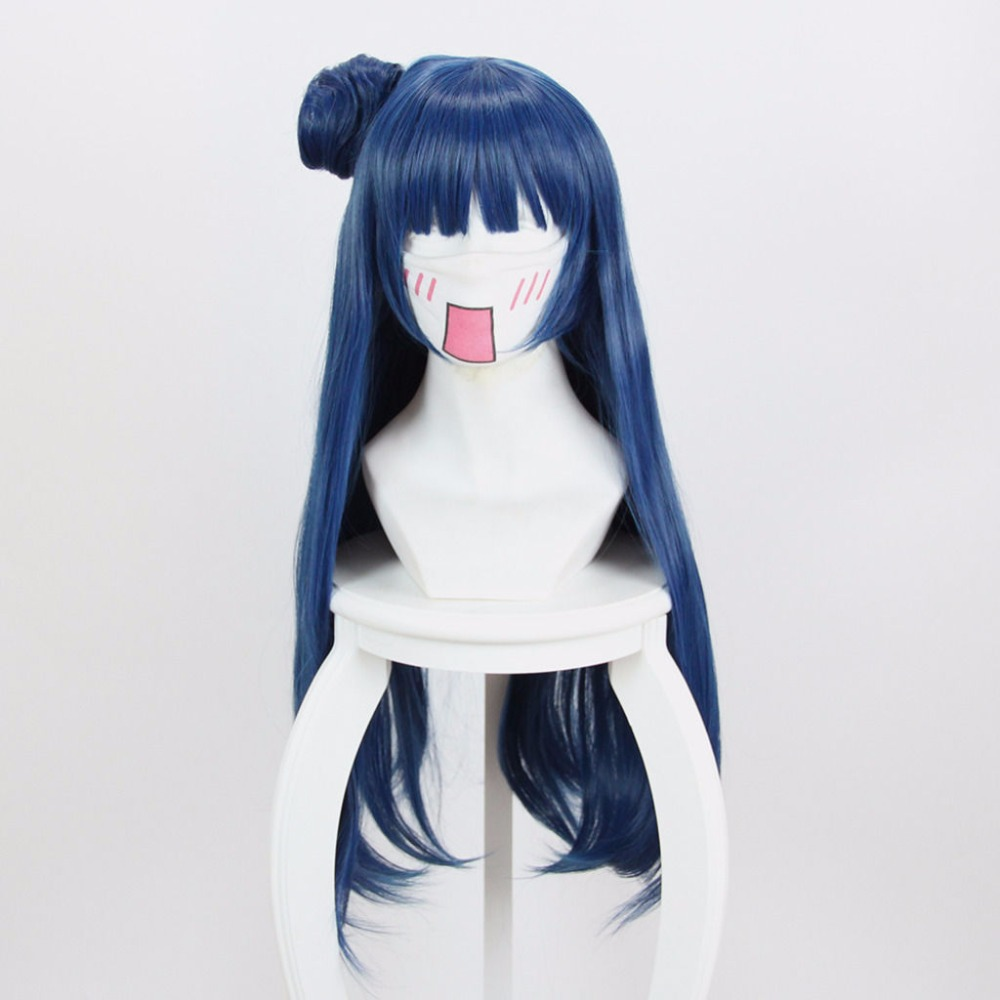 80CM Love Live! Sunshine!! Tsushima Yoshiko Wig Long Blue Heat Resistant Synthetic Hair Cosplay Wig With Bun Wigs