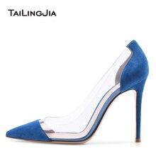 цена Plexi High Heel Pumps for Women Pointed Toe PVC Court Shoes Transparent Stiletto Heels Spring Summer Ladies Dress Shoes 2019 онлайн в 2017 году