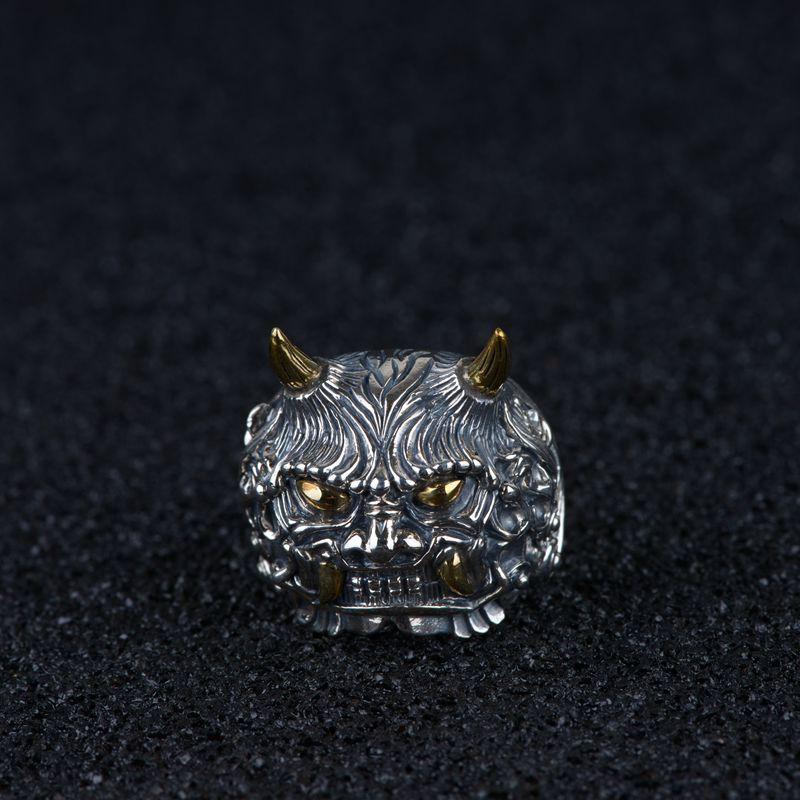 FNJ Punk Animal anneau 925 argent Anillos nouvelle mode S925 en argent Sterling anneaux pour hommes bijoux taille réglable bague