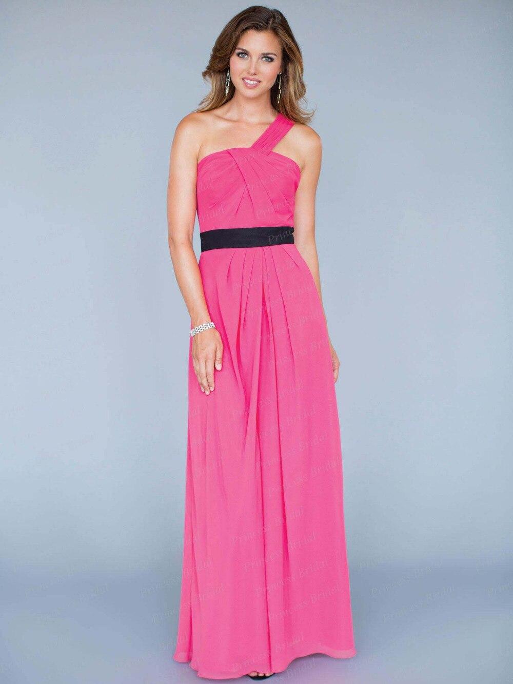 Free Shipping Fairytale Sheath Pleated Floor Length Chiffon Long Bridesmaid Dress One Shoulder BD078