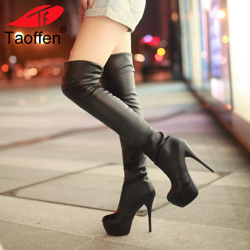 Taoffen Plus Size 34-46 Sexy Over Knee Thigh High Boots Women Autumn Winter Long Boots Shoes Women Platform Velvet Boots taoffen female autumn winter thigh high boots high heels women over the knee botas ankle boots mujer shoes plus size 34 43