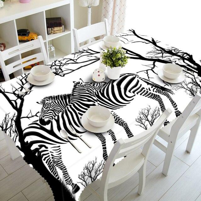 Neue Plaid 3D Tischdecke Weiß Zebra Tiere Muster Wasserdichte