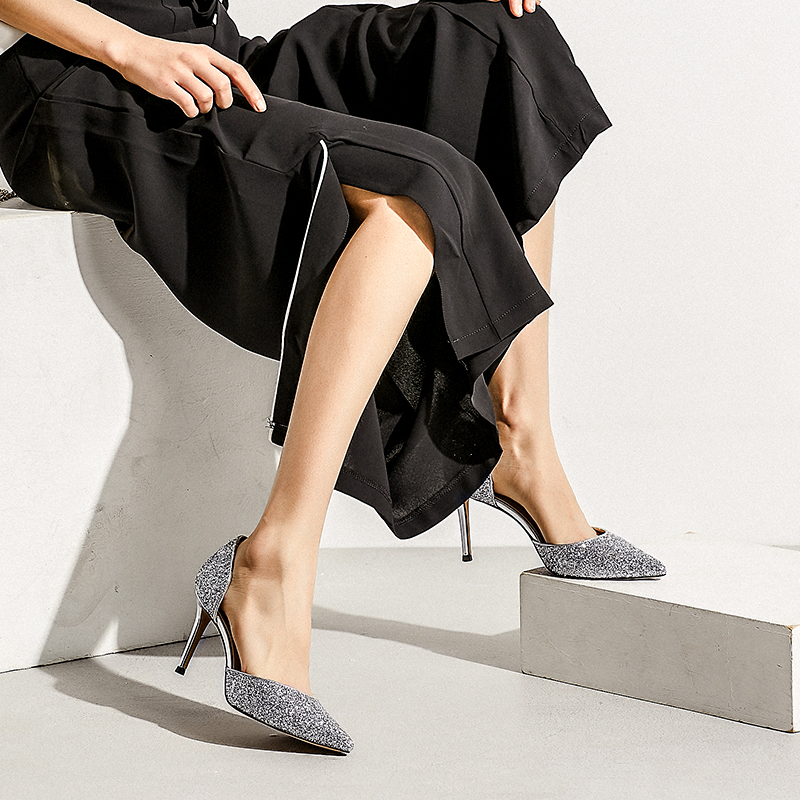 Las Tacón Alto Sexy De Stiletto plata oro Primavera Mujeres Nueva En Negro Moda 2018 Zapatos Punta Altos Simple Tacones Brillante A4nfqZf