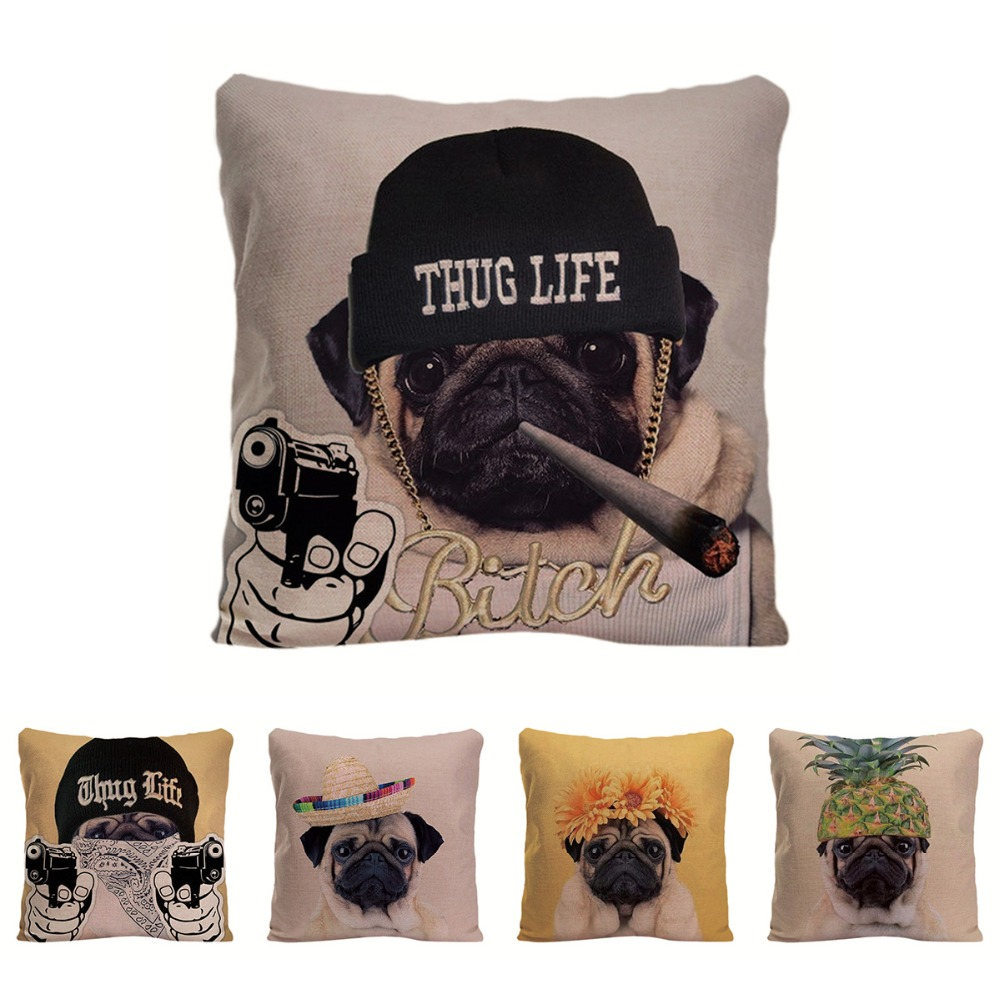 Cute Dog Cushion Cover Home Decorative Pillow For Sofa Car Covers Lovely Pug Pillow Case For Children Animal Linen Pillowcase