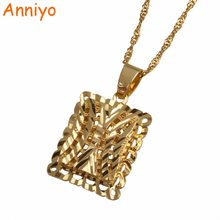 Anniyo Arab Pendant Necklaces for Women Gold Color African Jewelry Trendy Birthday Gifts #001614(China)