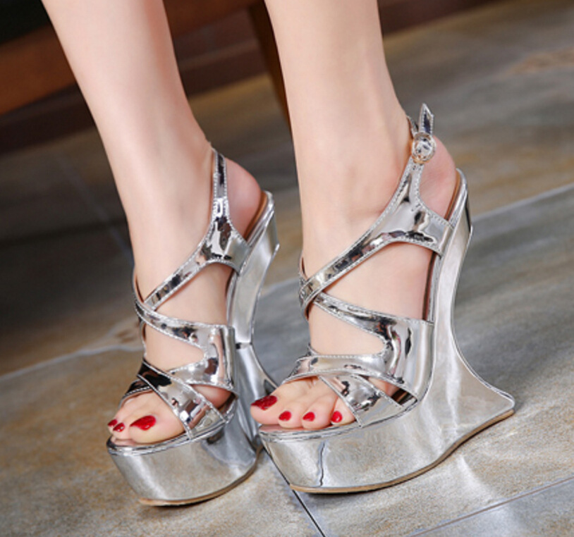 ФОТО 2017 Summer Shoes Sandals Nightclub Sexy High-heeled Sandals Hoof Heels Women's Shoes  Platform Gladiator Sandals Sandalias C546