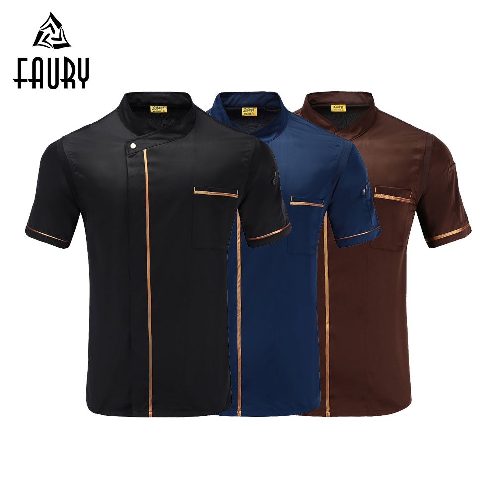 Men Short Sleeve Mesh Patchwork Chef Jackets French Restaurant Cafe Food Service Kitchen Cook Barber Shop Patissier Work Uniform