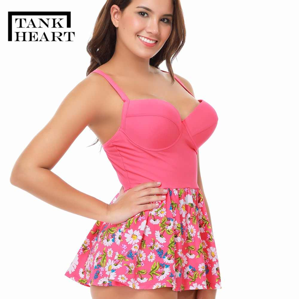 ab8c54e8fe Tank Hear Pink Floral Two-Piece Swimsuit Tankini plus size Swimwear Women  mayo skirt beach