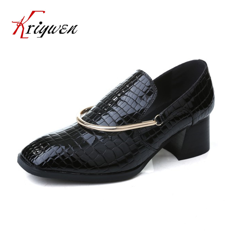 ФОТО Spring Women chunky high heels punk street shoes slip on microfiber concise female ladies casual Shoes for wedding party pumps