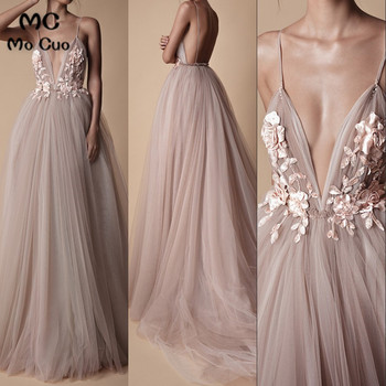 Sexy Long Evening Dress 2019 New Deep V Neck Backless Court Train Flowers Blush A Line Special Occasion Prom Gowns Custom Made