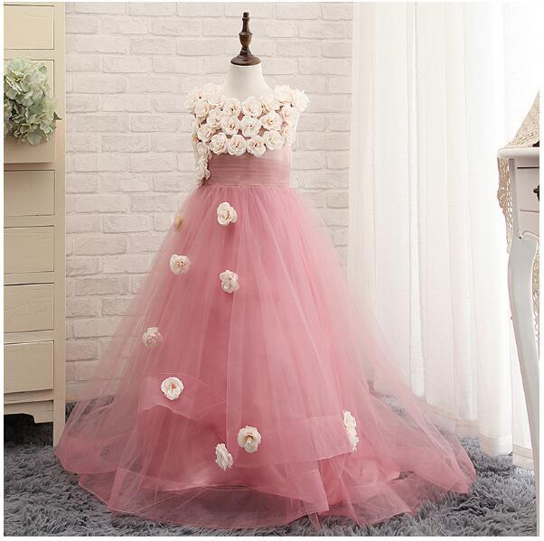 Girl's Wedding Formal Dresses 2018 Summer Tailing Gauze Gowns Flowers Girls Princess Dress Kids Model Party Prom Dress Pink