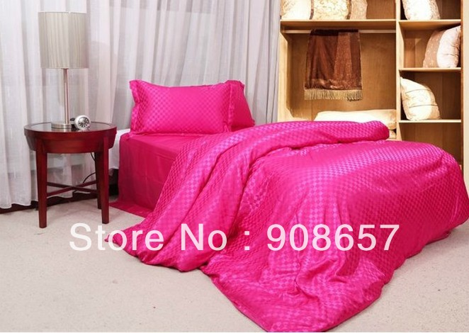 new luxurious imitated silk fabric girls bedding set magenta checked prints bed in a bag queen/full duvet covers sets bed linens