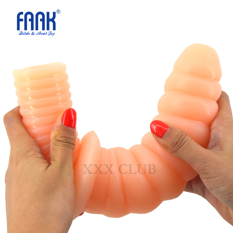 FAAK 29*8.3cm beads spiral thread soft penis fake female dick anal dildo butt plug adult masturbator sex toys for gay Lesbian new anal dildo realistic dildo with strong suction cup fake penis long butt plug anal plug sex toys for women sex products