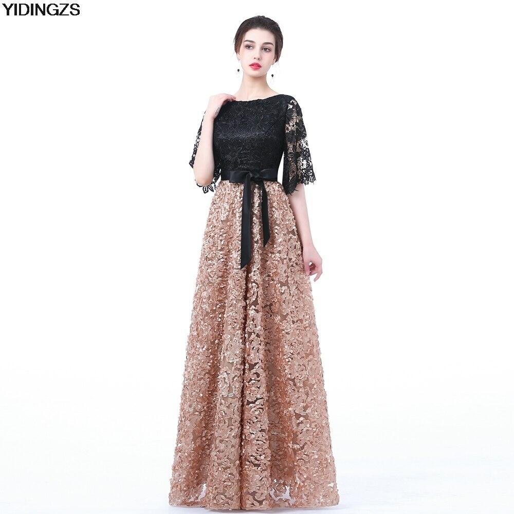 YIDINGZS Nouvelle Robe De Soirée Noir Avec Kaki Couleur Dentelle-Parole longueur Long Prom Party Robes