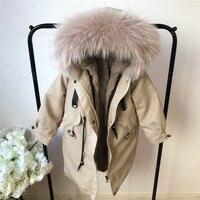 Родитель ребенок натуральный мех парки зимние теплые Утепленные длинные с натуральным кроличьим мехом Куртки для маленьких девочек с капю