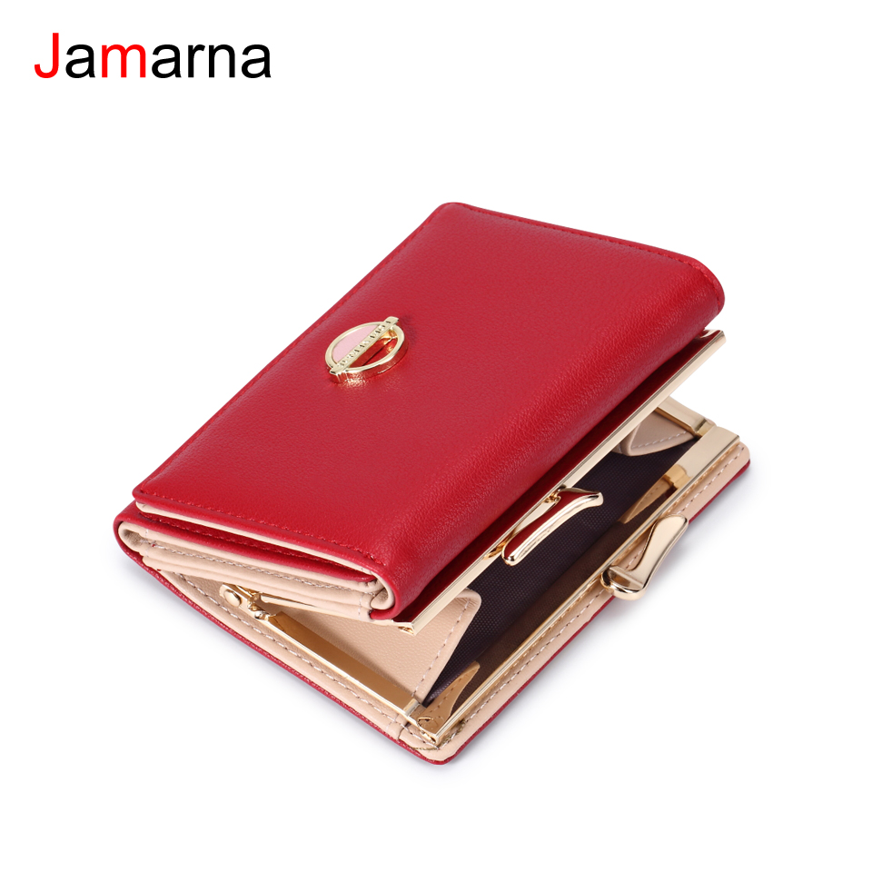Jamarna Women Wallets Coin Purse Wallet Small Brand Design High Quality PU Leather Short Wallet Female Purse Card Holder Red high quality 100% genuine leather women wallet ladies short wallets leather small wallet coin purse girl card holder clutch bag