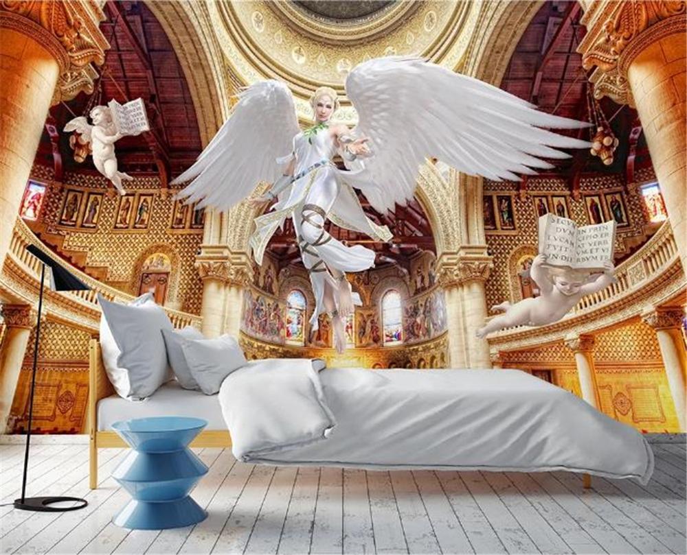 Bajo precio para el papel pintado sueño europeo Ángel belleza columna romana fondo de la pared de la pintura de la pared papel tapiz Digital 3d PVC 3D pegatina extraíble base borde autoadhesivo impermeable patrón papel pintado borde decoración de pared