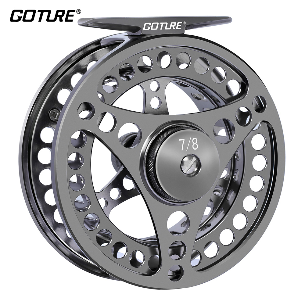 Goture High Quality Fly Fishing Reel 3/4 5/6 7/8 Utbytbar Fly Reel 2 + 1BB 1: 1Aluminum Alloy Fishing Gear Fiskehantering
