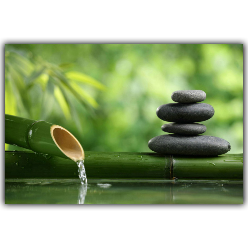 Zen stone bamboo meditation art buddha mural room wall for Deco mural zen